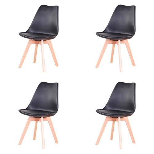 Conjunto de 4 sillas, Silla de Comedor, Silla de Estilo nórdico, Adecuada para Sala de Estar, Comedor (Negro)