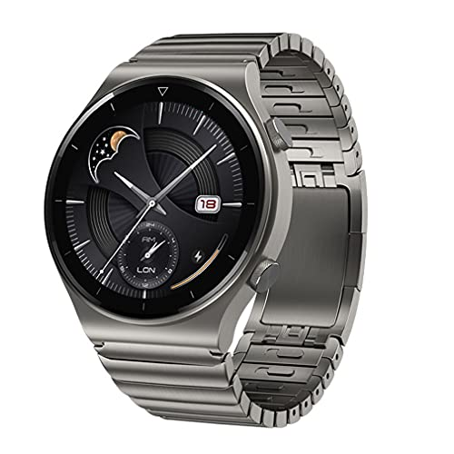 G-rf Ersatzbänder Für Huawei Watch GT / GT2 Pro / GT2 / ECG Series Für Porsche, Titangraues Stahlmetall Armbänder (Quick Release,Grau)
