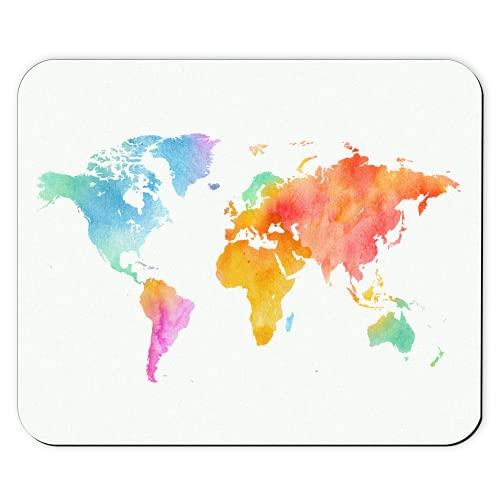Alfombrilla Ratón: Mapa del Mundo Colorido, Estampado Calidad Antideslizante | Accesorio Escritorio Decoración Oficina Regalo Mujer Hombre Colega Nina Madre Padre Globo Naturaleza Mouse Pad Mousepad