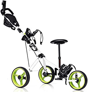 Tangkula Golf PushCart, Foldable 3 Wheels Push Pull Cart, Lockable Golf Trolley with Seat Scoreboard Bag,Golf Push Cart (Green)