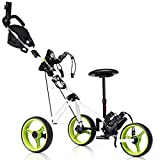 Tangkula Golf Push Cart, Foldable 3 Wheels Push Pull Cart, Lockable Golf Trolley with Seat...