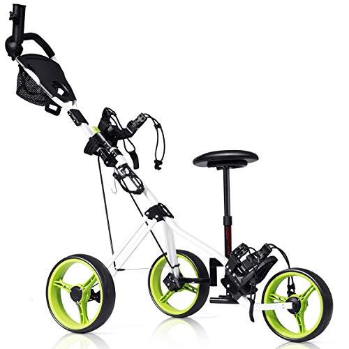 TANGKULA Golf Cart Swivel Foldable 3 Wheel Push Pull Cart is the best choice