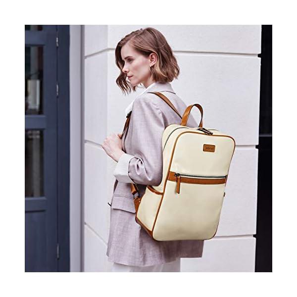 BROMEN Laptop Backpack for Women Leather 15.6 inch Computer Backpack Business Large Travel Daypack Bag 2