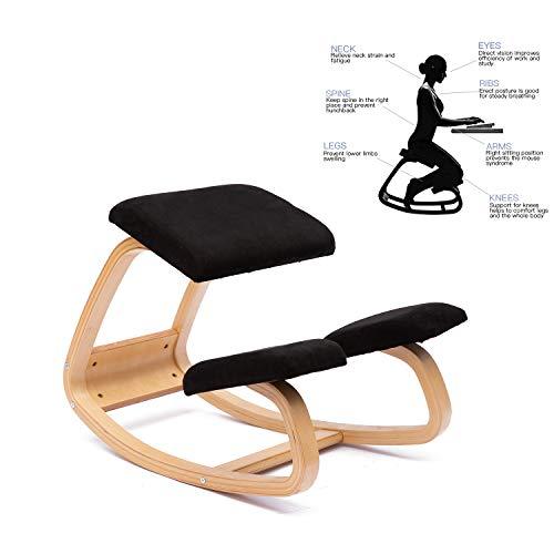 ENMSPLUS Sillas ergonómicas de Rodillas Grande Home Office Silla de Escritorio-Colores múltiples (Gamuza Negro)