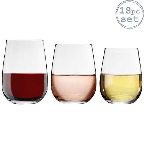 Argon Tableware 18 Pieza Corto sin pie copas de vino Set - estilo moderno de cristal Vasos para rojo, vino blanco, agua