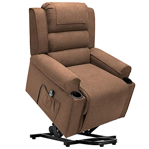 Waleaf Electric Recliner Chair for Elderly, Power Lift Chair with Side Pocket, Linen Fabric Single Sofa with 2 Cup Holders, Reclining Chair with 4 Removable Cloth Mats for Living Room (Brown)