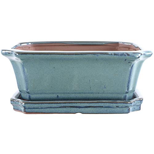 Bonsaischale mit Untersetzer 20x15.5x7.5cm Blaugrün Rechteckig Glasiert