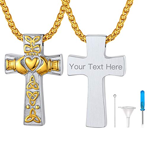 Personalized Celtic Cross Cremation Necklace for Ashes for Men Women Keepsake Prayer Jewelry Urn Pendant with Chain 22 Inch