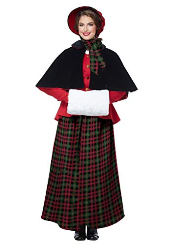 California Costumes Women's Holiday Caroler Woman-Adult Costume, RED/Green/Black, Extra Large