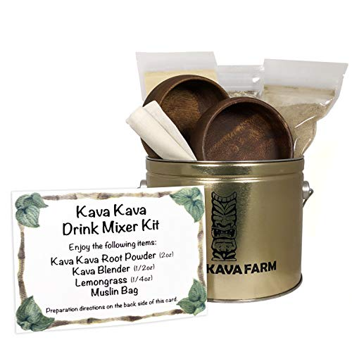KONA KAVA Farms Kava Kava Starter Kit for Two | Complete Authentic Kava Starter Set for Natural Relaxation, Stress, and Anxiety Relief | Includes Hawaiian Kava Powder and Acacia Wood Bowls