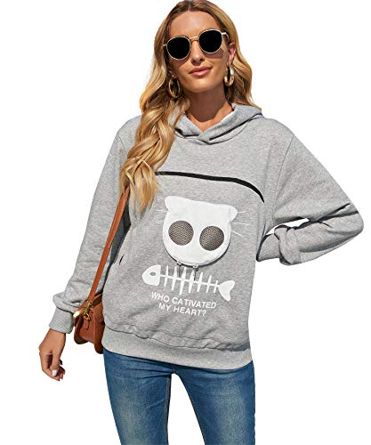 Pet Pouch Hoodie, Small Pet Carrier,Dog Cat Pouch Hoodie ,Sweatshirt Kangaroo Pocket Holder, Kitty Carrying, With Breathable Eye(Gray,M)