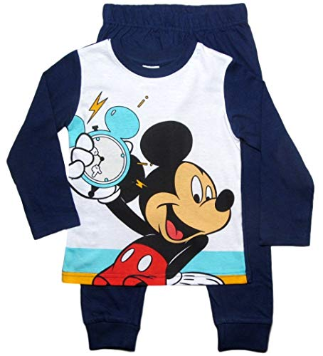 Mickey Mouse Schlafanzug Disney Pyjama Jungen (Blau, 110-116)