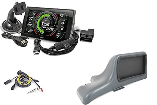 Edge EVO Evolution CTS3 Touch Screen Gauge Monitor 85400-200 & Dash Pod 28500 & EGT Probe Pyrometer Kit 98620 Compatible with 2001-2007 Chevy Silverado/GMC Sierra 6.6L LB7/LLY/LBZ Duramax Diesel