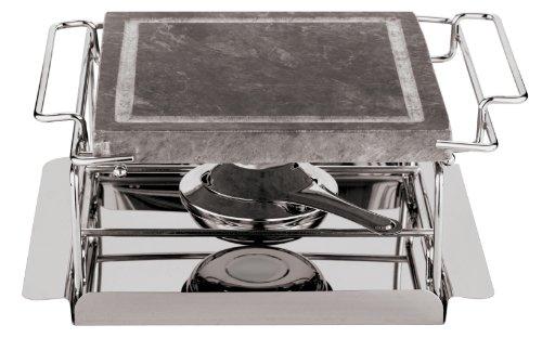 Paderno World Cuisine Tischgrill aus Steinholz Single Burner silber