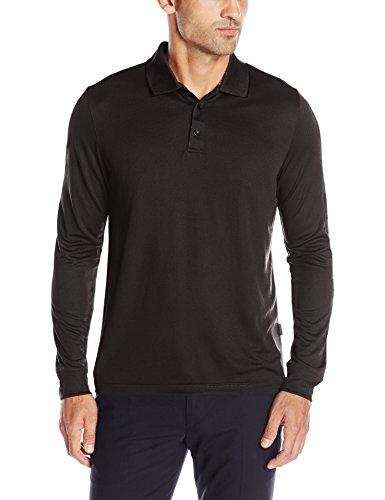 Perry Ellis Men's 3 Button Long Sleeve Jacquard Polo, Black, X Large