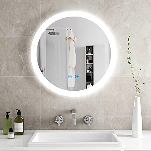 IMPTS LED badezimmerspiegel mit Beleuchtung, Badspiegel Wandspiegel rund 60cm mit Touchschalter Beschlagfrei Dimmbar neutralweiß 4000K IP44
