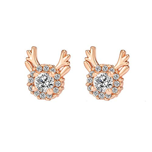 Family Needs Originative Lummelen Elk Stud Earrings Temperament Snowflake Zirkoon Kerstmis Antlers Fashion Oorbellen (Color : Rose Gold)