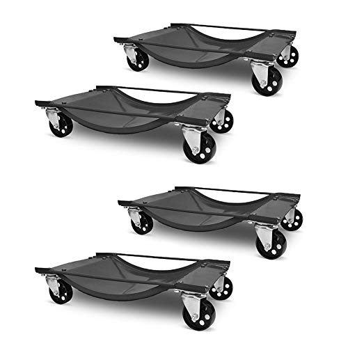 Aufun 4 Stück Rangierhilfe für PKW Auto Rangierhilfen Rangierwagenheber Rangierheber Rangierroller Wagenheber Roller max. 4 x 450KG pro Auto Prüfschlittens