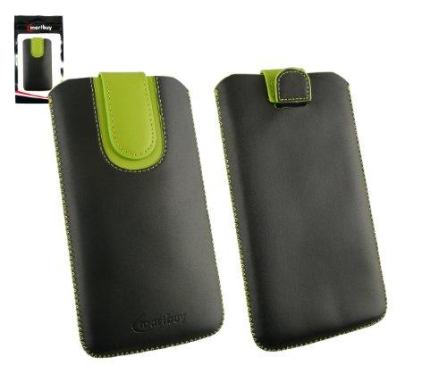 Emartbuy® Schwarz / Grün Premium PU Leder Tasche Hülle Schutzhülle Hülle Cover ( Size 5XL ) Mit Ausziehhilfe geeignet für UMi Hammer S Smartphone 5.5 Inch