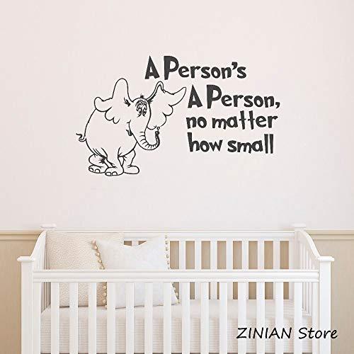 Calcomanías de pared de elefantes de viveros Cotizaciones A personas No importa cómo Pegatinas de vinilo pequeñas Decoración de la habitación de los niños del bebé Calcomanía inspiradora 56x96 cm