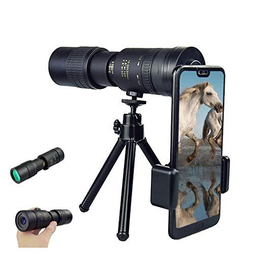 4K 10-300X40mm Super Telephoto Zoom Monocular Telescope, Waterproof Fogproof Night Vision Monocular with Smartphone Holder & Tripod for Bird Watching Hunting Camping Travelling Hiking (B)
