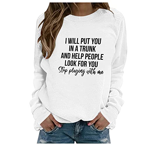 SHOBDW Barato Liquidación Sudaderas Mujer Cuello O Pullover Jersey Deportiva Talla Grande Sweatshirt Abrigos Deportivos Cálido Primavera Otoño Mujer Adolescentes Estudiante Tops(Blanco,XXL)