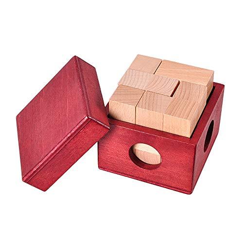 Cubo De Soma Madera De Kongming Bloqueo Cubo Rompecabezas Desafío para La Mente Lógica De Juguetes De Madera Juego De Puzzle En 3D para Hijos Adultos Jóvenes,A