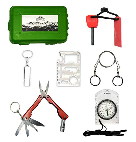 Kit supervivencia montaña Kit de supervivencia profesional | Navaja multiusos Pedernal Supervivencia...