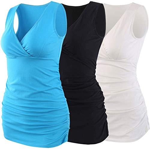 ZUMIY Top maternità e prémaman, Cotone V Neck Donna Increspato Camicia di maternità Vita/Gravidanza T-Shirt (M, Black+White+Lake Blue/3-pk)