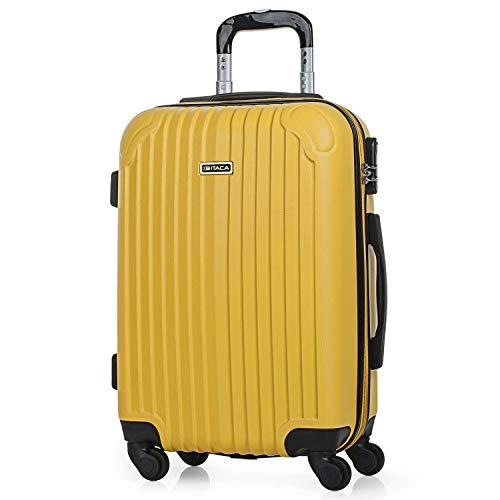 ITACA - Maleta de Viaje Cabina Rígida 4 Ruedas 55 cm Trolley ABS. Equipaje de Mano. Pequeña Resistente Cómoda y Ligera. Low Cost Ryanair. Estudiante. Calidad y Diseño. T71550, Color Mostaza