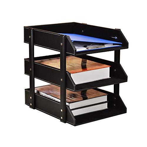 Porte-documents De Bureau À 3 Couches Rack De Stockage De Données Surface En Cuir De Haute Qualité Durable (Color : Black)