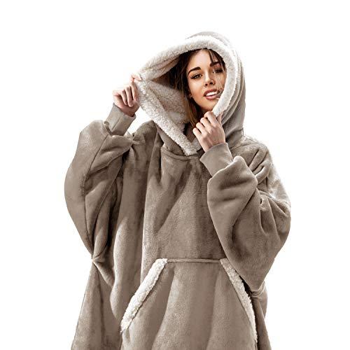 FEDERI The Original Oversized Sherpa Wearable Blanket Hoodie | Plush Fleece Blanket Sweatshirt with Pockets and Sleeves for Men and...