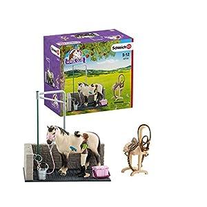 Schleich- Colección Horse Club Figuras de Lavadero de Caballos, Accesorios y Funciones (42104)