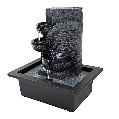 Desktop Fountain Relaxation Waterfall Feature Meditation Decor Indoor Portable Feng Shui Fountain with LED Light for Relaxation,Meditation, Room Decoration