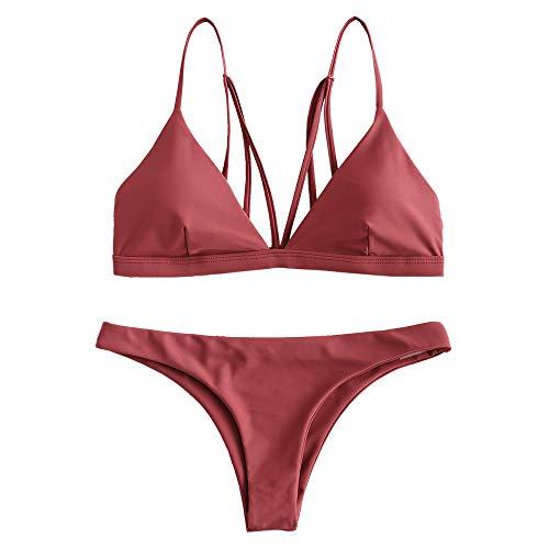 ZAFUL Damen Spaghetti-Träger Kein Stützdraht Bikini Set Beachwear Braun L