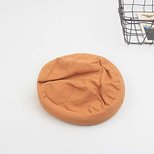 mlpnko Sombrero Harajuku Hembra Boina Simple Moda Color sólido Salvaje Delgado Octogonal Sombrero Pintor Sombrero Caqui M (56-58cm)