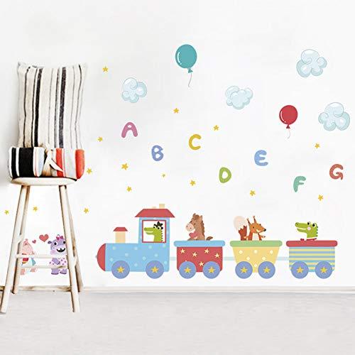 Dieren Trein Engels Brieven Ballon Muurstickers voor Kids Kamer Decoratie Thuis Woonkamer DIY PVC Kinderen Party Mural