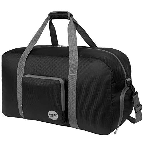 Faltbare Reisetasche 60-100L Superleichte Reisetasche für Gepäck Sport Fitness Wasserdichtes Nylon von WANDF (schwarz, 60L)