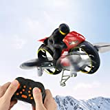 Remote Control Car, 2.4G 2 in 1 Land Air Fly Motorcycle Headless Mode Remote Control Four-axis Drone Racing Stunt Motorcycle Toys for Gift