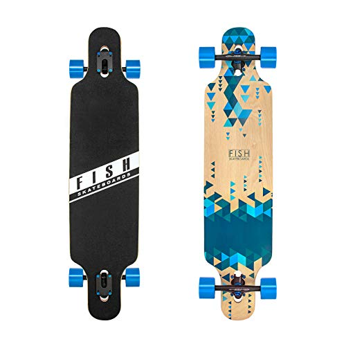 FISH SKATEBOARDS 41-Inch Downhill Longboard Skateboard Through Deck 8 Ply Canadian Maple, Complete Cruiser, Free-Style