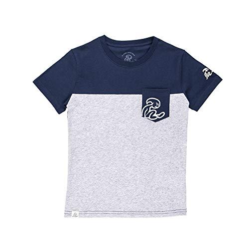 El Niño - Camiseta Colorblock de Manga Corta con Bolsillo para niños, Azul/Gris, Talla 14 años