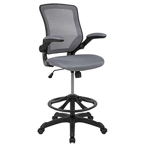 Flash Furniture Mid-Back Dark Gray Mesh Ergonomic Drafting Chair with Adjustable Foot Ring and Flip-Up Arms