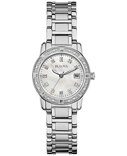 Bulova Ladies Diamonds 96W105 Orologio da Polso al Quarzo, Analogico, Donna, Acciaio, Argento