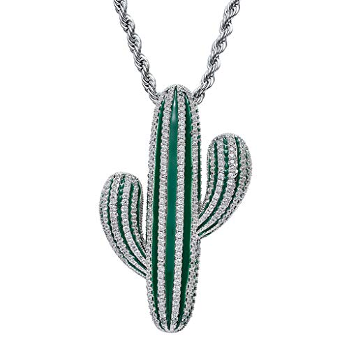 joyMerit Trendy Cubic Zirconia Cactus Pendant Necklace Twisted Chain Hip Hop Jewelry - Silver