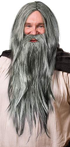 Balinco Peluca Mago en Gris Oscuro en un Set con Barba Gris Oscuro para los Hombres y Damas Mago Mago Gandalf Merlin Carnaval