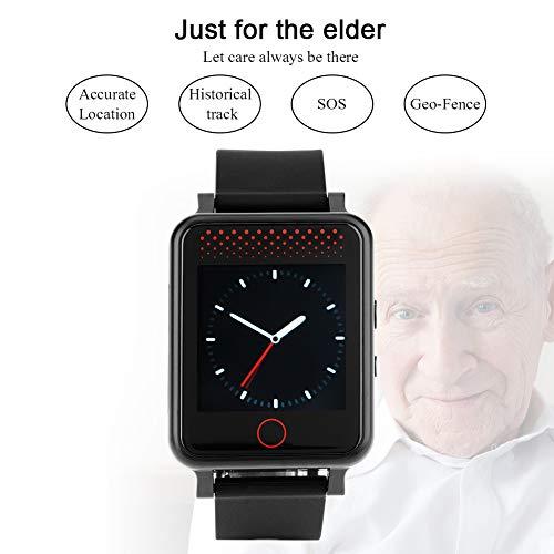 Hakeeta 1.54'' Pulsera Reloj GPS,para Personas Mayores,para Señores, Frecuencia Cardíaca + Presión Arterial, Llamada SOS, Monitor de Salud, Multifunción, Posicionamiento GPS Posicionamiento WiFi