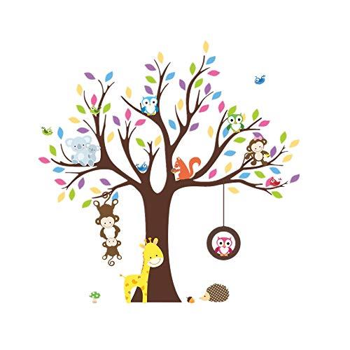 Rainbow Fox Autocollants muraux pour enfants chouette singe arbre