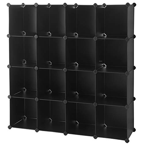 SONGMICS Cube Storage Organizer, 16-Cube Book Shelf, DIY Plastic Closet Cabinet, Modular Bookcase, Storage Shelving for Bedroom, Living Room, Office, 48.4 x 12.2 x 48.4 Inches, Black ULPC44BK