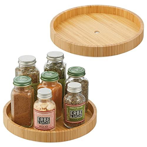 mDesign Especiero giratorio – Estante para especias, pimienta, ingredientes de hornear o conservas de bambú – Bandeja giratoria redonda para aparador o armarios de cocina – Juego de 2 – color natural