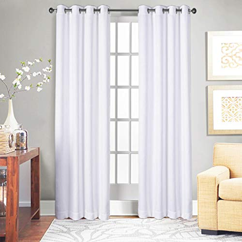 Tiny Break Curtains for Living Room and Bedroom, Made of 100% Cotton, Eco Friendly, Grommet Top, Moderate Room Darkening Curtains - White Cotton Curtains 96 Inchs Long - Window/Door Curtains Set of 2